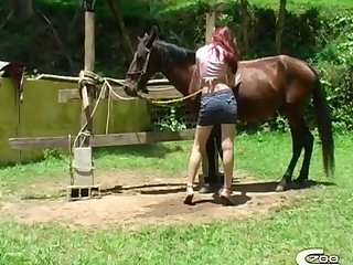 Xxx Walked Up And Started Teasing Horse Addicted Teen With The Horse Meat